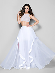 Homecoming Formal Evening Dress - Ivory A-line Jewel Sweep/Brush Train Organza
