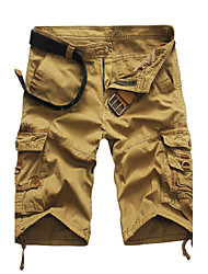 Hombre Un Color Tiro Medio Inelástica Corte Recto Shorts Pantalones,Delgado Corte Recto Un Color