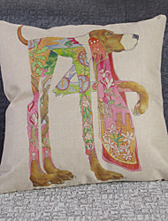 Retro Hand-Painted Abstract Dog Pillowcases Composite Flax Mouldproof Absorb Sweat Breathe Freely