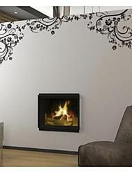 adesivos de parede da arte da flor de parede preta clássica zooyoo8001 DIY removíveis adesivos de parede de vinil que vivem casa