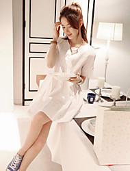 Women's Casual/Party/Work Short Sleeve Dresses (Cotton/Linen)