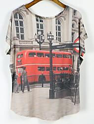婦人向け ラウンドネック Tシャツ , コットン混 半袖