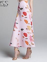 Jupes Aux femmes Maxi Vintage/Sexy/Décontracté/A Motifs/Soirée Polyester Non Elastique