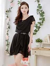Women's Solid Black/Green/Orange Dress , Casual Cowl Short Sleeve