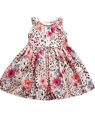 2015 New Girl Dress Pink Leopard Print Baby Girls Dress Princess Dress Girls Summer Dresses for Children
