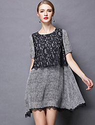 Women's Lace Micro-elastic Short Sleeve Above Knee Dress (Lace)