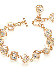 T&C Women's Crystal Box Rhinestone Jewelry 18K Yellow Gold Plated Cube Chain Classic Tennis Bracelet
