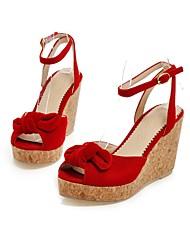 Women's Shoes Wedge Heel Wedges/Peep Toe Sandals Dress Black/Red