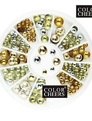 80PCS Mixs Taille Rivet ronde Nail Art Or & Argent Décorations