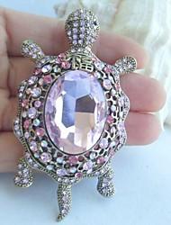 Women Accessories Gold-tone Pink Rhinestone Crystal Tortoise Turtle Brooch Art Deco Scarf Brooch Women Jewelry