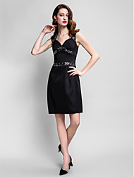 robe de cocktail de retour - noir Gaine / colonne Queen Anne genou satin stretch