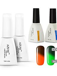 Azure 4 Pcs/Lot Soak Off Color Changing LED UV Nail Gel Polish Color Gel Manicure Nail Art Gel(#44+#48+BASE+TOP)
