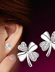 Mulheres Brincos Curtos Estilo simples Moda bijuterias Prata de Lei Formato de Flor Jóias Para Casamento Festa Diário Casual Esportes