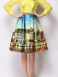 Women's Yellow Skirts , Casual/Print Knee-length