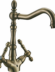 Centerset Two Handles One Hole in Antique Bronze Bathroom Sink Faucet
