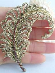 Women Accessories Gold-tone Topaz Rhinestone Crystal Leaf Brooch Art Deco Crystal Brooch Bouquet Women Jewelry