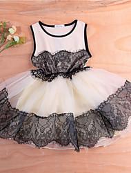 Menina casual / diariamente sólido vestido primavera queda meia manga