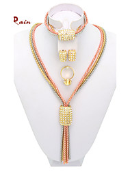 WesternRain Fashion New Arrival Rose Gold Silver Matched Women Costume African Tassel Jewelry Set