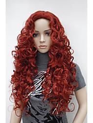 """nouvelle mode de charme 26 """"rouge à long bouclés perruque synthétique de femmes foncé"""