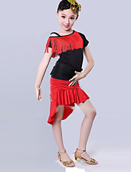 Latin Dance Performance Outfits Children's Irregular Performance/Training Polyester Tassel Outfit Black/Red Kids Dance Costumes