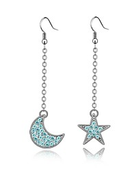 Tale of Star and Moon Drop Earring Plated with 18K True Platinum Aquamarine Crystallized Austrian Crystal Stones