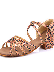Women's/Kids' Dance Shoes Belly/Latin/Jazz/Dance Sneakers/Modern/Flamenco/Samba Fabric Flat Heel Leopard
