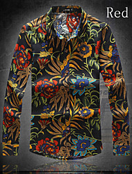 Men's Casual/Work/Formal/Plus Sizes Print Long Sleeve Regular Shirt (Cotton)