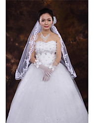 Wedding Veil One-tier Fingertip Veils Lace Applique Edge