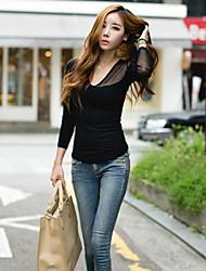 Women's Sexy Casual Work Micro Elastic Long Sleeve Regular T-shirt   Cotton