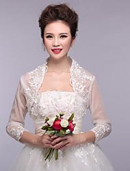 Wedding Wraps Boleros 3/4-Length Sleeve Organza/Polyester Lace Wraps White Bolero Shrug