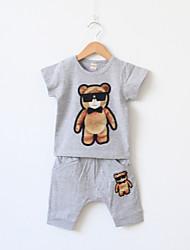 Boy's Short Sleeve Little Bear Print Cute Clothing Set