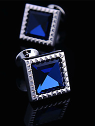 Fashion Copper Men Jewelry Silver Square CZ Crystal Rhinestone Delicate Button Cufflinks(1Pair)
