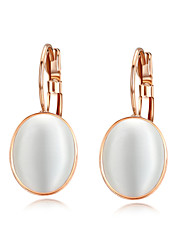 HKTC Concise Fashion Jewelry 18k Rose Gold Plated Clear White Opal Stone Drop Earrings