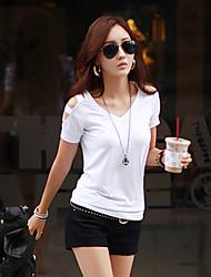 Hål Kortärmad T-shirt Kvinnors V-hals