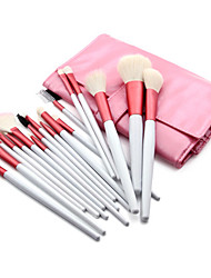 18PCS Goat Hair Professional Red&Black Makeup Brush Set with Pink Free Leather Pouch