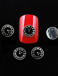 10pcs Black Metal Clock Shape DIY Nail Art Decoration
