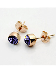HKTC Elegant Popular 5mm Simple Round Purple Cubic Zirconia Stud Earrings