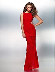 Formal Evening Dress - Ruby Plus Sizes / Petite Sheath/Column Bateau Floor-length Lace / Georgette