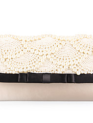 Women's Handmade Faux Pearl Beaded Fashion Clutch Purse Bag Party Evening Wedding Handbag