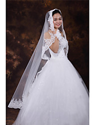 Wedding Veil One-tier Fingertip Veils Lace Applique Edge Tulle White Ivory Beige