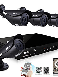 ZOSI® 800TVL Night Vision 40m HDMI 500GB HDD 8CH H.264 DVR Kits 4x Outdoor IR CCTV Camera Security System