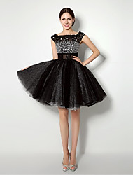 Cocktail Party Dress Ball Gown Bateau Short / Mini Tulle with