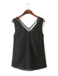 Women's Casual/Cute/Party/Work V-Neck Sleeveless Vests (Chiffon)