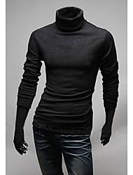Men's High-Neck T-Shirts , Cotton Blend Long Sleeve Casual Hollow Out All Seasons HI MAN