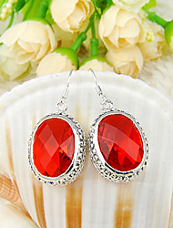 récent cadeau ovales antique feu en forme de quartz rouge joyau 925 boucles d'oreilles en argent pour la noce quotidiennes 1pairs de