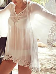 Women's 3/4 Sleeve V-neck Solid Loose-fitting Bikini Cover-up Mini Chiffon Lace Trim Beach Dress