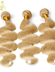 "3 Pcs Lot 14""-30"" Platinum Bleach Blonde 613# Virgin Hair Eurasian Body Wave Remy Human Hair Weave Bundles Machine Wefts"