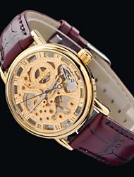MCE luxo quente relógio de pulso esportes de couro mão-liquidação esqueleto mecânico novas mulheres relógios livre pós hk
