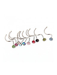 10PCS Body Piercing Jewellery Nose Stud Bone Pin Ring Gem Crystal Rhinestone