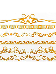 4PCS Hot Flash Tattoo Gold Tattoo Metallic Tattoo Taty Tatouage Temporary Tattoo Sticker Metal Tatoo Fake Tatto